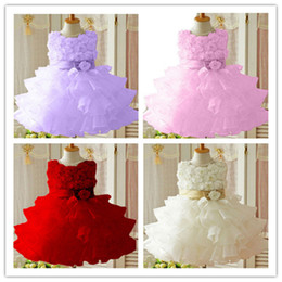 Wholesale-New Flower Girl Christening Wedding Party Pageant Dress Baby First Communion Dresses Toddler Gowns Child Bridesmaid Dress