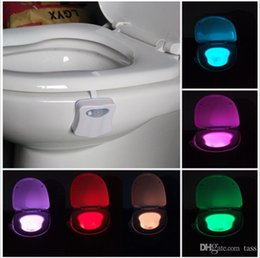 Wholesale 2016 New LED Motion sensor toilet night light Colors Changing Toilet Bathroom human body auto sensing motion activated toilet bowl light