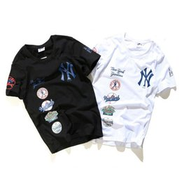 2017 Harajuku wind NY baseball service yeezus short sleeve T-shirt off white men and women lovers loose tide Yanke hip-hop street