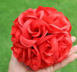 Artificial Rose Silk Flower Kissing Balls 15CM Hanging Flowers Ball For Wedding Christmas Ornaments Party Decoration Supplies