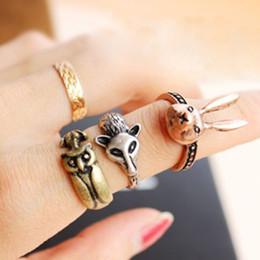 Wholesale Vintage midi rings rabbit fox and owl animal knuckle band midi mid finger top rings set