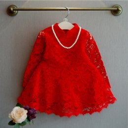 Wholesale Chinese Baby Girl Costume - Baby Kids Clothing 2017 vintage Flower girl dresses Spring Autumn children korea Lace ball gowns Tutu princess costume Chinese Style dress