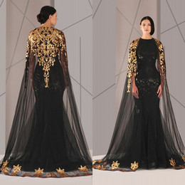 Black Arabic Muslim Evening Dresses Tulle Cloak Gold Black Sequins 2017 Plus Size Mermaid Formal Wear Long Pageant Prom Gowns