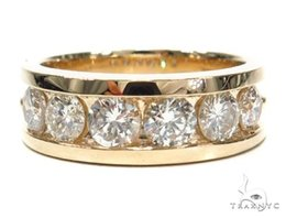 Mens Diamond Ring Round Cut G Color 14k Yellow Gold 2.10ct