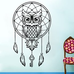 2017 Hot Sale Personality Owl Wall Decal Dream Catcher Vinyl Sticker Bedding Boho Feather Bedroom Living Room Art Decor