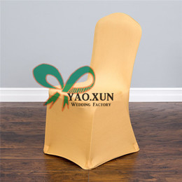 50pcs Gold Lycra Chair Cover \ Wedding Spandex Chair Covers Wedding Decoration