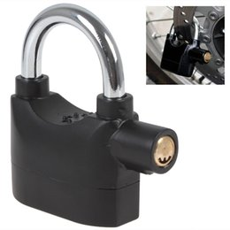 Wholesale Hot Waterproof Black Siren Padlock with dB Alarm Provides Perfect Security Keys with Battery for Bicycle Motorcycle LIF_810