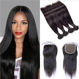 Brazilian Straight Hair Weaves 4 Bundles with Closure Free Middle 3 Part 7A Quality Double Weft Human Hair Extensions Dyeable 60g pc