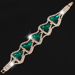 New womens Fashion 3 color Rhinestone triangle crystal Bracelet Crystal Chain Bangle big crystal women wedding B030