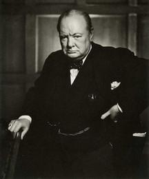 Wholesale Sir Winston Churchill Painting Prime Minister United Kingdom Nobel Prize Winner Handpainted Portrait Art oil Painting Canvas Multi Size amaz