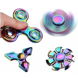 EDC Rainbow Finger Spinner Gyro Fire Wheel HandspinnerColorful Anti-Anxiety ADHD EDC Hand Fidget Toy Metal Aluminium Alloy