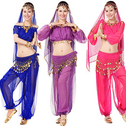 Egyptian Belly Dancewear clothes 4Pcs Top+Skirt+Waist+Veil Women's Dance Clothing Bellydance Costume Adult Ballroom Party Performance dress