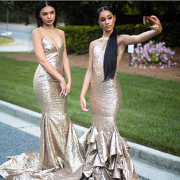 Elegant 2019 Sexy Sequined Evening Gowns Sleeveless Mermaid Ruffles Skirt Sweep Train Formal Prom Party Dresses