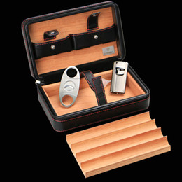 Wholesale New COHIBA Cigar Humidor Cedar wood humidor Carrying travel packets Can installed cigar with Lighters and cigar cutters