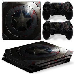 Captain America Front & Back Vinyl Skin Sticker Decor Decals for Sony PS4 Pro Console Skin + 2 PCS Controller Cover Skin Stickers
