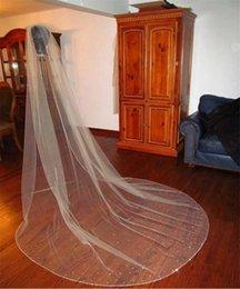 Wholesale Soft White Wedding Veils - Sparkly Beaded Edge Long Wedding Veils Real Image Three Meters Beading Soft Tulle Chapel Length Custom Made High Quality Bridal Veil