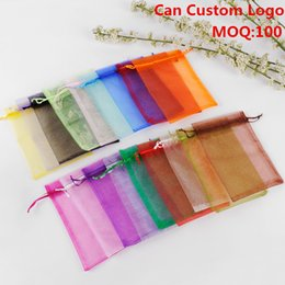 Wholesale x23cm Mixed Color Drawable Organza Jewelry Bags Embalagem Para Presente Christmas Wedding Gift Bags