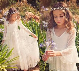 HOT 2017 New Fancy V Neck 3 4 Sleeves A-line Lace Flower Girl Dresses Cheap Country Style Little Girls Gowns