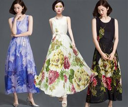 Summer Dresses Women Print Chiffon Beach Dress Bohemian Maxi Dress Long Skirt Ladies Party Evening Dress