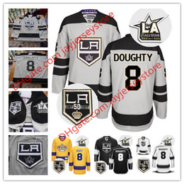 Wholesale 8 Drew Doughty Jersey th Anniversary All star Patch NHL Los Angeles Kings Jerseys Home Away Grey Yellow Black White