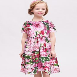 Wholesale WLMONSOON Girls Cotton Rose Bianco Dresses Brand Summer Princess Dress Robe Fille Girls Costume Children Dress Kids Clothes