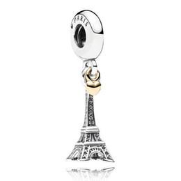 Corazón del oro de la pulsera 925 en Línea-Auténtica plata de ley 925 encanto de perlas París Torre Eiffel corazón de oro pendientes de cuentas de mujeres aptas Pandora pulsera brazalete Diy Joyería HKA3188