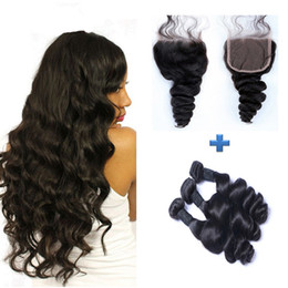 8A Brazilian Virgin Hair with closure Extensions 3 Bundles Brazilian Loose Wave With 4x4 Lace Closure Unprocessed Remy Human Hair Weave