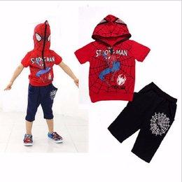2017 spiderman ensembles de vêtements d'été Spiderman Enfants Vêtements Ensembles 2017 Summer Boys Spiderman occasionnel Sport Suit Kids Sets t-shirt + pantalon 2pcs costume Garçons Vêtements promotion spiderman ensembles de vêtements d'été