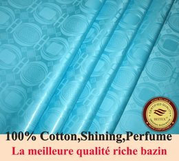 BEITEX High Quality Bazin Riche Fabric Aqua Color Damask Shadda Guinea Brocade Soft 100% Cotton 10yards bag with Perfume