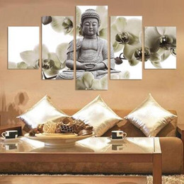 UnFramed 5 Panel Large Orchid Background Buddha Painting Fengshui Canvas Art Wall Pictures for Living Room Home Decor For Women