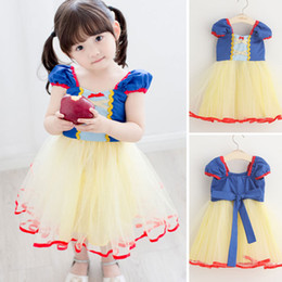 Mignonne fille cosplay en Ligne-Filles Halloween Performance Cosplay Costumes Robe blanche en neige Robe princesse sans manches Princesse Robes Girl Cute Clothes