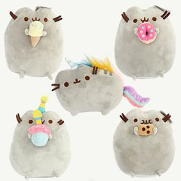 Crème glacée animale en Ligne-23cm Kawaii Brinquedos Nouveau Pusheen Cat Cookie Ice Cream 5 Style Peluches Stuffed Animaux Chat Jouets Girl Gift D225