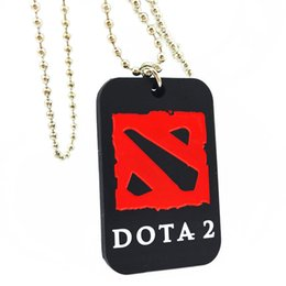 Wholesale 50PCS Lot Dota 2 Silicone Dog Tag Necklace Fashion Jewelry With 24 Inch Ball Chain