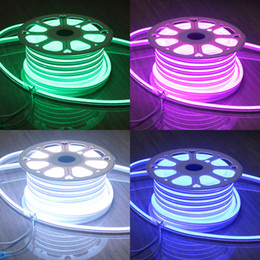50M (164') Spool 220V Neon Soft Tube UV Resistance Mini 11x18mm Rope Waterproof RGB LED Flex Neon Signs Indoor Outdoor Lighting
