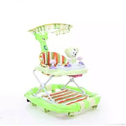 Children's electric car baby walker can remote control four wheeled battery toy car baby Strollers Rocking horse + sunshade + music + toys