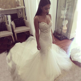Sexy Mermaid Wedding Dresses Sweetheart Spaghetti Straps Exquisite Embroidery Backless Tulle Bridal Gowns with Train Custom Made