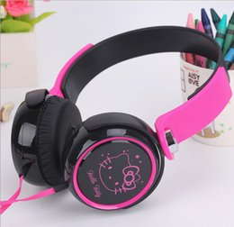 Wholesale Computers Price Sells - General mobile computer headset Hello Kitty cute girl cartoon flat wire with mic headsets stereo sound good priced direct selling
