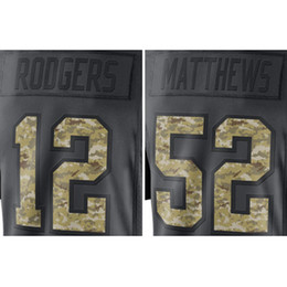 Wholesale Men s Aaron Rodgers Clay Matthews embroidery Logos Anthracite Salute to Service Jersey