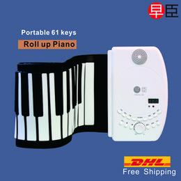 Descuento enrollar 61 teclas La nave al por mayor-DHL clava el silicón suave profesional de la música MIDI del piano de las llaves 61 rueda para arriba el piano del teclado del instrumento musical