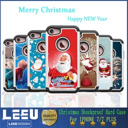 Wholesale Christmas Gifts for iphone plus shockproof hard pc case pictures of Santa Claus for choose opp bag