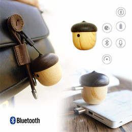 Wholesale Mini Cool Nuts Bluetooth Stereo Speaker Wood Outdoor Nuts Portable Loudspeaker with Handsfree Mic for Mobile Phones Backpack Travelling Gift