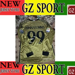 Wholesale 16 AC long sleeve goalkeeeper jersey DONNARUMMA fans version jersey customize patches