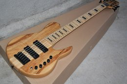 2017 guitare par Vente en gros - Usine chinoise Custom Natural Wood One Piece Neck à travers des micros actifs Fodera Butterfly 6 cordes Electric Bass Guitar 81 peu coûteux guitare par
