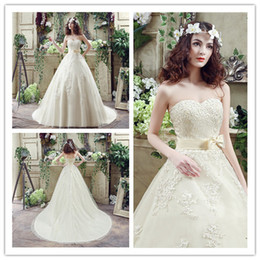 2018 Appliques Sweetheart Bridal Gowns Lace Ribbon Bow Tie Floor Length Tulle Luxury Women Lady Wedding Catwalk Redcarpet Dresses
