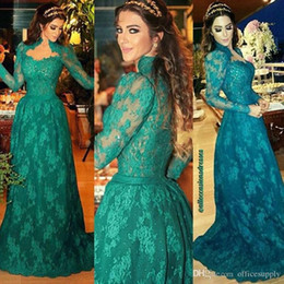 High Quality Emerald Green High Neck Long Sleeves Evening Dresses 2017 Vestidos De Noiva Lace Prom Dresses Sweep Train Imported Party Gowns