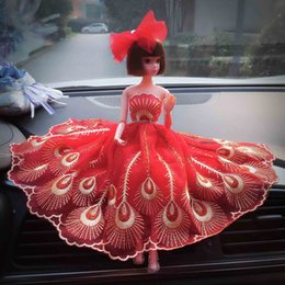 Wedding Doll with Active joint Car decoration doll Peacock dress Creative handmade wedding doll