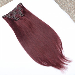Hot Sale 8A virgin brazilian straight clip in human hair extensions red wine color remy human hair clip on weaves high quality hair