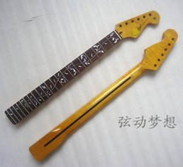 Wholesale 1 electric guitar neck product rosewood fingerboard with flowers Lemon yellow varnish