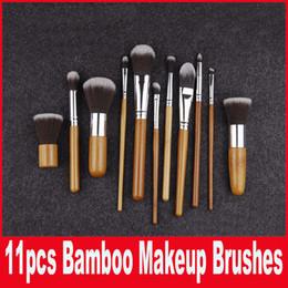 Wholesale 1lot Cosmetic Brush set Bamboo Handle Synthetic Makeup Brush Kits makeup brushes make up toiletries brush tools facebrush and eyebrush