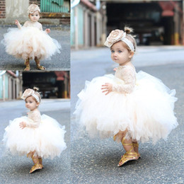 2018 Baby Infant Toddler Flower Girl Dresses With Long Sleeves Lace Tutu Ball Kids Pageant Gowns